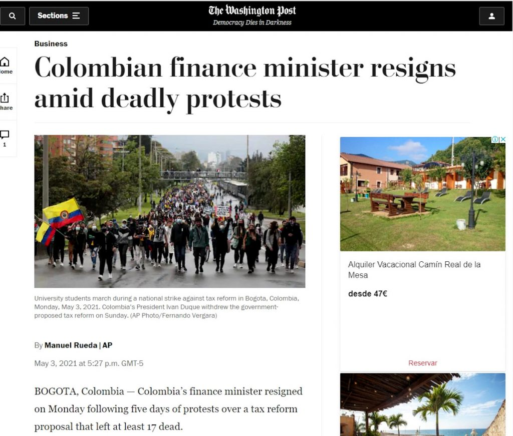 The Washington Post / Manifestaciones en Colombia.