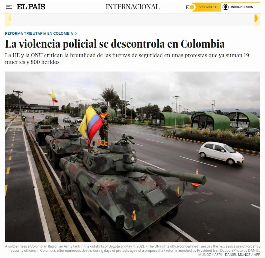The Country of Spain / Protests in Colombia.