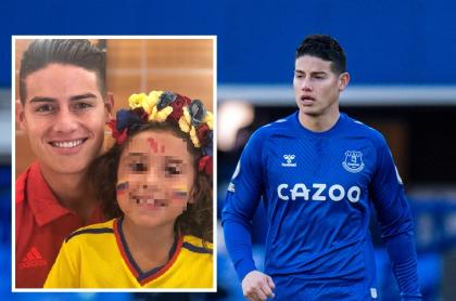 Fotomontaje de James Rodríguez y su hija Salomé, a propósito de fotos en las que lucen idénticos