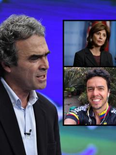 Fotomontaje de Sergio Fajardo, María Ángela Holguín y Alejandro Fajardo, a propósito de la vida privada del candidato presidencial