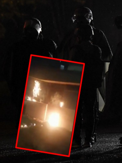 Imágenes que ilustran el incendio de un CAI en Bogotá