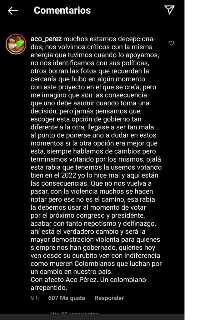 Captura de pantalla Instagram aco_perez.