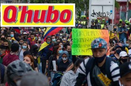 Portada del periódico Q'hubo en la que le pide al Gobierno Nacional dar las explicaciones sobre los desaparecidos en Bogotá durante paro nacional.