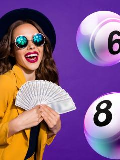 Mujer con billetes y balotas alrededor ilustra nota sobre qué lotería jugó anoche y resultados de las loterías del Valle, Manizales y Meta de mayo 5 (fotomontaje Pulzo).