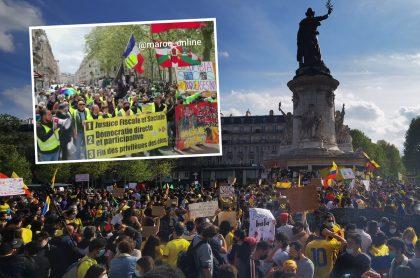 Montaje con fotos de colombianos y 'chalecos amarillos' marchando y protestando contra el Gobierno de Iván Duque en la Plaza de la República, de París, Francia. Ilustra nota sobre marchas de 'chalecos amarillos' en París este 8 de mayo de 2021, en el marco del paro nacional de Colombia.