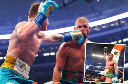 Montaje con fotos de Saúl 'Canelo' Álvarez dándole un golpe en la cara a Billy Joe Saunders durante la pelea de boxeo en la que el mexicano salió en brazos (recuadro) luego de su victoria ante el inglés en el AT&T Stadium de Arlington, Texas, Estados Unidos, el 8 de mayo de 2021.