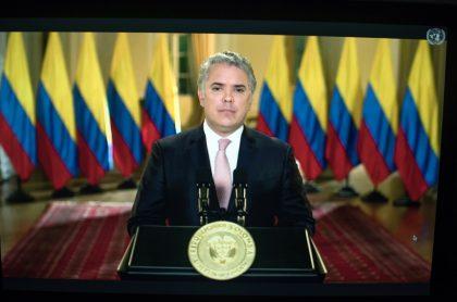El presidente de Colombia, Iván Duque, quien le pidió a los indígenas que retornen a sus resguardos para evitar confrontaciones, habla durante la Asamblea General de la ONU en Nueva York, EE. UU., el 22 de septiembre de 2020.