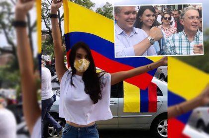 Montaje con fotos de Instagram de Natalia Bedoya con la bandera de Colombia y junto a Iván Duque y Álvaro Uribe (recuadro). Ilustra nota sobre la amenaza de la tuitera con dejar el Centro Democrático si Duque no va a Cali.