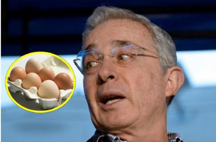 Imagen de huevos y Álvaro Uribe, a propósito del precio exagerado que el expresidente le puso a ese producto