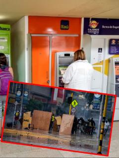 Imágenes que ilustran la actividad de bancos en el paro nacional.