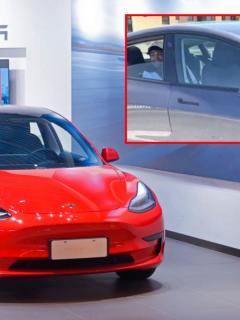 Carro Tesla, ilustra nota de Arrestan a hombre por viajar en la parte de atrás de su Tesla sin conductor