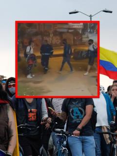 Papá entró a correazos a su hijo en manifestaciones en Bogotá.