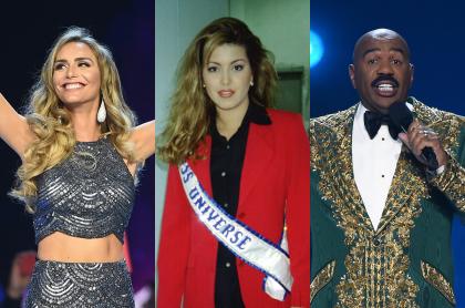 Foto de Ángela Ponce, Alicia Machado y Steve Harvey, a propósito de polémicas en Miss Universo