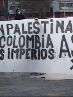 Protestas palestinas en Chile en contra del Estado de Israel.