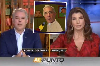 Captura de pantalla de Iván Duque, presidente de Colombia, en entrevista en Univisión con Patricia Janiot, donde le preguntaron si él era un títere y por lo cual surgieron memes y burlas en Twitter (como el montaje del recuadro con la imagen de Álvaro Uribe y una escena de 'Los Simpson').