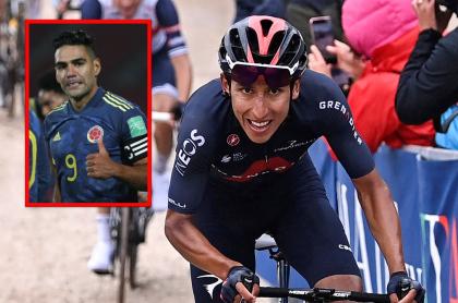 Falcao García celebra el triunfo de Egan Bernal en el Giro de Italia hoy.