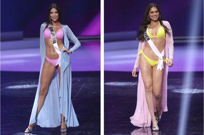 Laura Olascuaga y Andrea Meza, señoritas Colombia y México, respectivamente, durante el desfile en traje de baño el 14 de mayo de 2021 en Miss Universo, certamen de belleza en el que figuran entre las favoritas a quedarse con la corona.