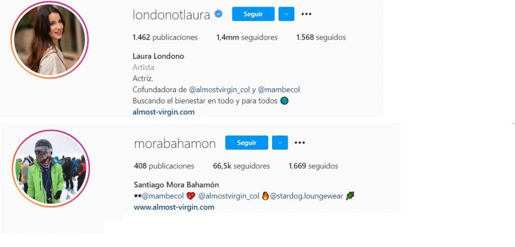 Capturas de pantalla Instagram londonotlaura/morabahamon.