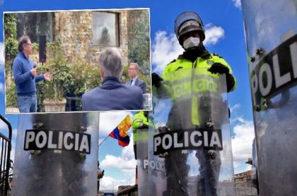 Gustavo Petro en la reunión con empresarios y el dueño de Aviatur, en donde opinó sobre la Policía Nacional