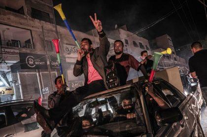 Palestinos celebraron cese al fuego con Israel.