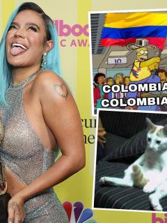 Karol G posa luego de recibir el premio a mejor artista latina en los Billboard Music Awards 2021, el 23 de mayo, en el teatro Microsoft de Los Angeles, California. La colombiana, junto a Bad Bunny, fue protagonista de los memes de la ceremonia gracias a su vestido transparente.