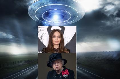 Fotomontaje de Ovni, Angelina Jolie y la reina Isabel II, a propósito de teoría sobre reptilianos