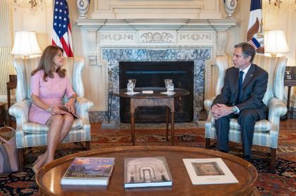 La vicepresidenta y canciller, Marta Lucía Ramírez, se reunión con el secretario de Estado, Anthony Blinken.
