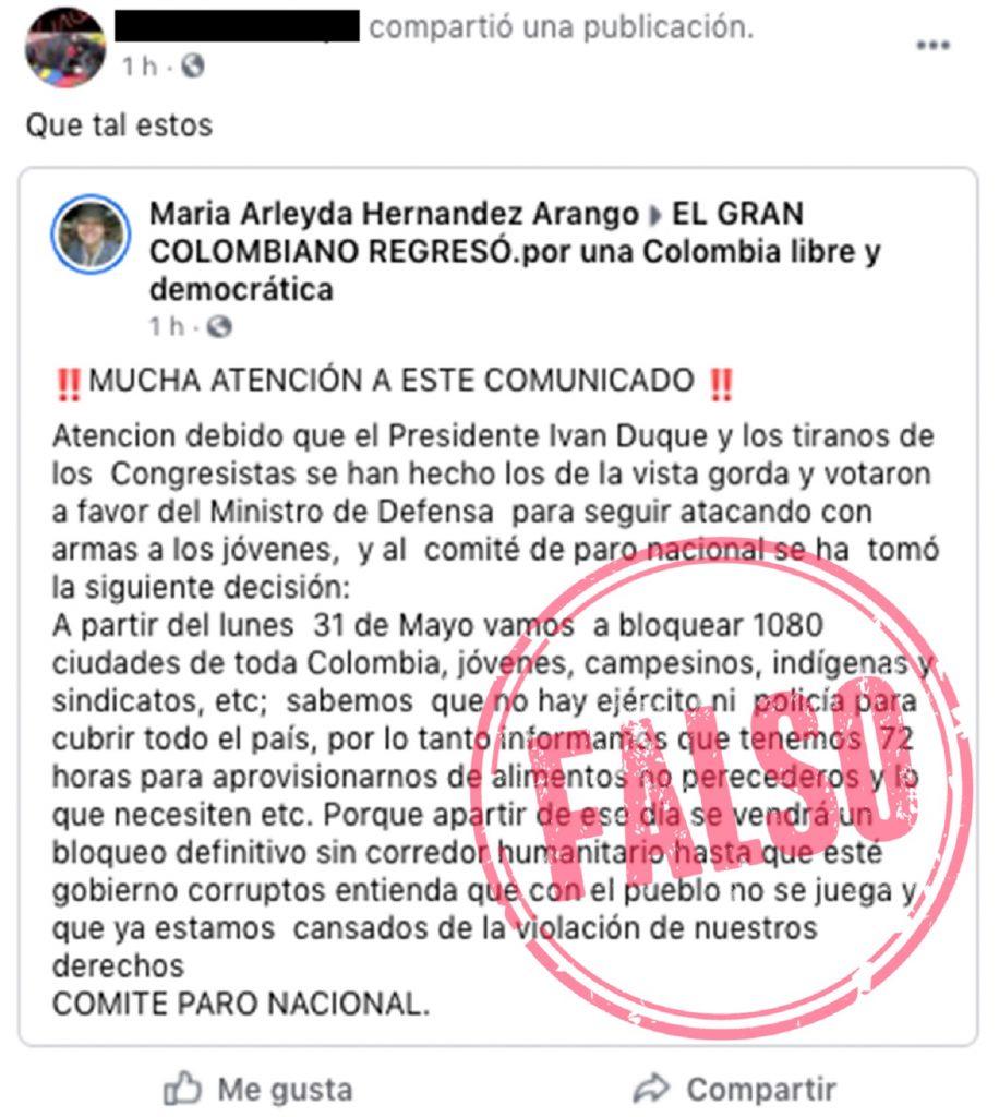 Fake news sobre convocatoria a bloqueos / Vía Colombia Check.