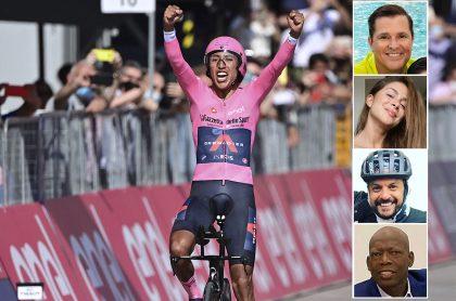 Montaje con fotos de Egan Bernal celebrando su llegada a la línea final para ganar el Giro de Italia, el 30 de mayo de 2021, junto a imágenes de Carlos Vives, Greeicy Rendón, Julián Román y el 'Tino' Asprilla, quienes estuvieron entre los famosos que felicitaron al ciclista por su nuevo título.
