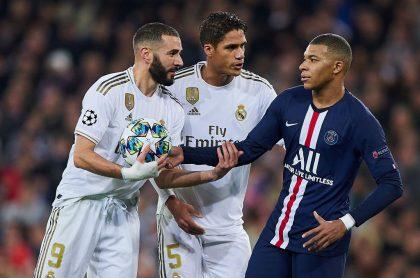 Foto de Benzema, Mbappé y Varane ilustra nota sobre qué dijo Benzema sobre Mbappé