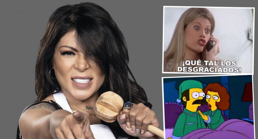 Montaje con foto de la cantante y actriz Marbelle junto a imágenes de Lorna Cepeda (recuadro superior derecho) en 'Yo soy Betty, la fea' y 'Ned Flanders' en 'Los Simpsons' (recuadro inferior derecho). Ilustra nota sobre los memes del estreno de 'Masterchef Celebrity' 2021.