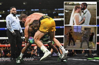 Montaje con foto de Floyd Mayweather levantando a Logan Paul, durante la pelea de boxeo que los enfrentó en el Hard Rock Stadium de Miami, Florida, Estados Unidos, el 6 de junio de 2021, junto a 2 de las imágenes de los memes que dejó este espectáculo de exhibición.