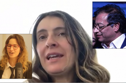 De izquierda a derecha: María Paulina Baena (La Pulla), Paloma Valencia y Gustavo Petro