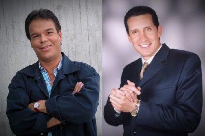 Juan Carlos Arango y Fernando 'el Flaco' Solórzano en 'Pedro, el escamoso', a propósito de que también fueron actores que actuaron en 'Vecinos'.