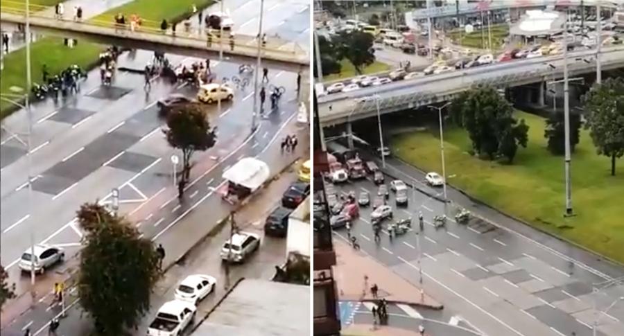 Bloqueo en Autopista Norte de Bogotá en lunes festivo no duró mucho.