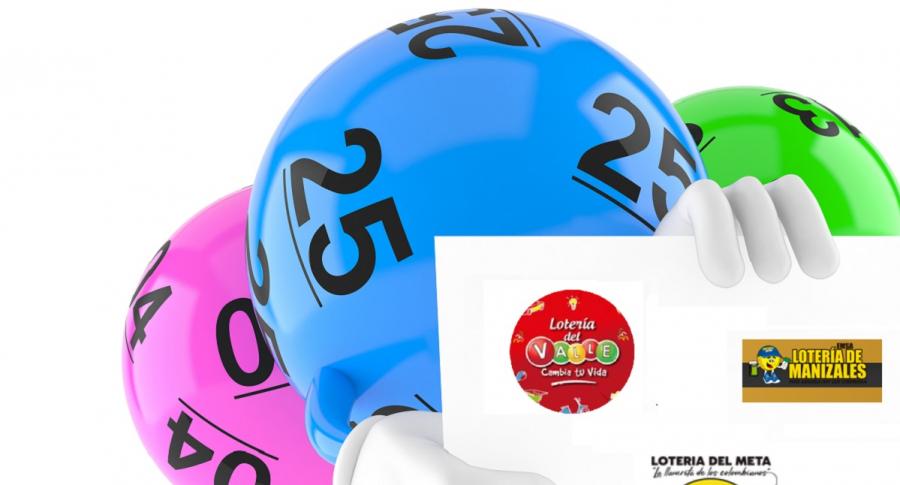 Balotas con logos de tres loterías, apropósito de qué lotería jugó a anoche y resultados de loterías de Valle, Manizales y Meta.