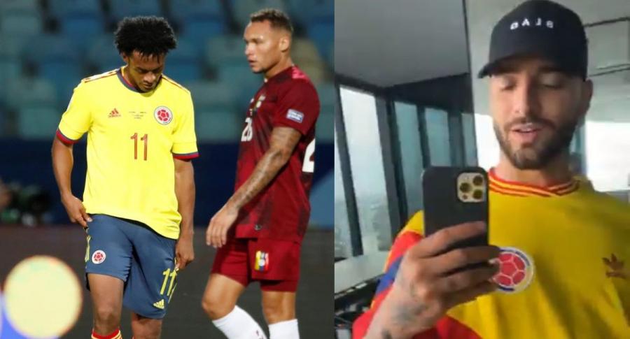 Foto de Maluma con camiseta de Selección Colombia y Juan Guillermo Cuadrado cabizbajo, en nota de saludo del cantante a la Selección Colombia.