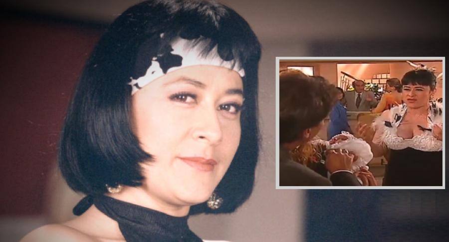Alina Lozano como Nidia Estela en 'Pedro, el escamoso', sola y con 'Enrique Bueno Lindo' y 'Nidia Guillermina', a propósito de la confusión que hay con las dos Nidia de la novela y que son la mamá e hija de Yadira.