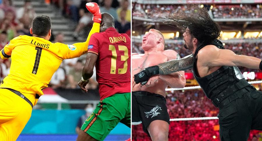 Meme para Lloris por golpe a Danilo en Francia-Portugal, por Eurocopa. Fotomontaje: Pulzo.