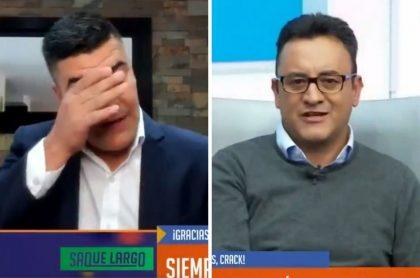 Eduardo Luis llorando al aire en Win Sports por la muerte de Jhon Mario Ramírez