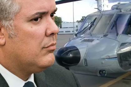 Iván Duque y helicóptero, ilustra nota de Publican retratos hablados de sospechosos de atacar helicóptero presidencial