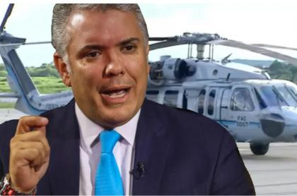 Montaje de Pulzo con foto de Iván Duque y helicóptero. Ilustra nota sobre supuesta alianza entre Eln, disidencias Farc y narcos que estaría detrás de atentado al presidente de Colombia.