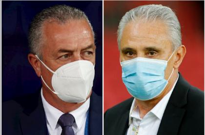 Gustvo Alfaro, que le dijo sentidas palbras a Tite, y el DT de Brasil