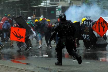 Imagen ilustrativa de una manifestación del paro nacional en junio del 2021 en Medellín.