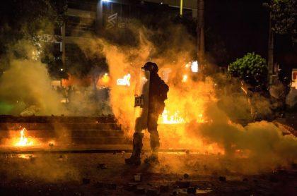 Imagen ilustrativa de un incendio en medio de las manifestaciones del paro nacional.