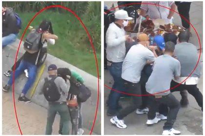 Montaje con capturas de pantalla de actuar de banda que atracaba y hería, en manada, en el centro de Bogotá.