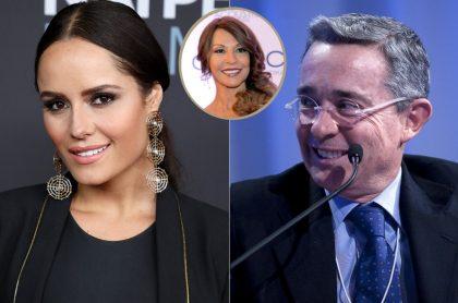 Ana Lucía Domínguez y Álvaro Uribe, a propósito de que la actriz dijo por qué es fan de él e incluyó a Amparo Grisales (recuadro).