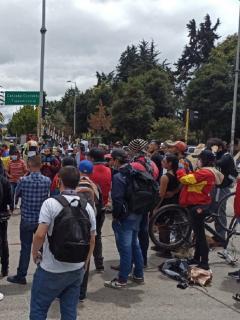 Imagen de las manifestaciones en Suba durante este miércoles.
