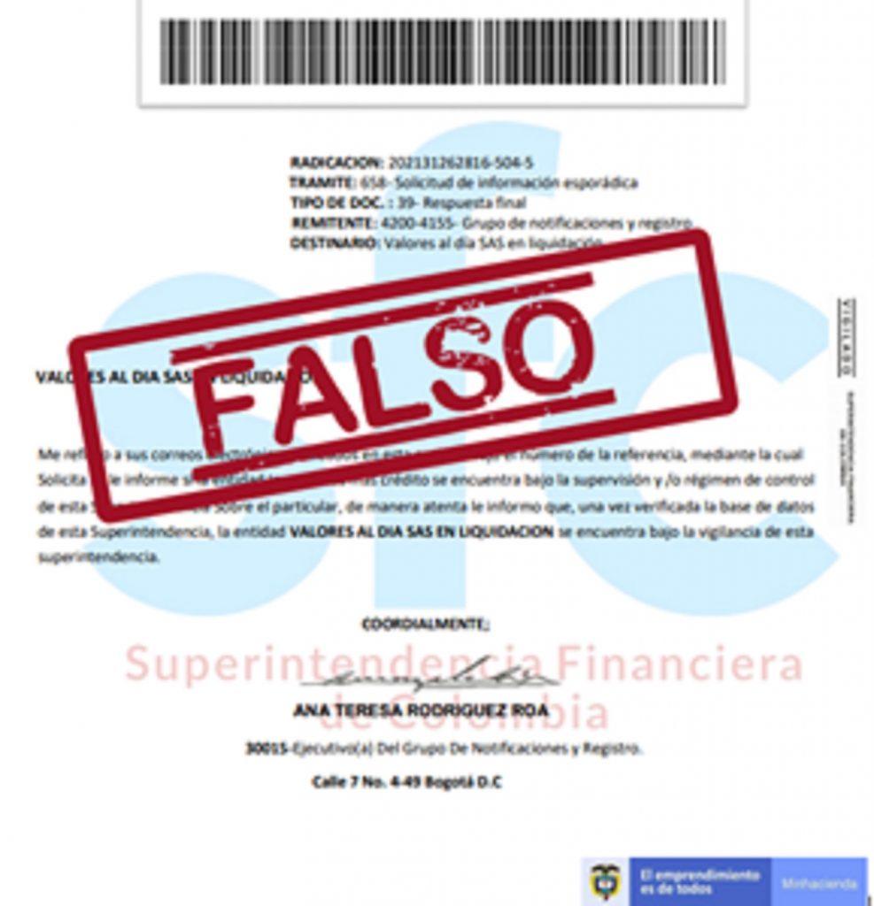 Documento con imagen falsa de la Superfinanciera.
