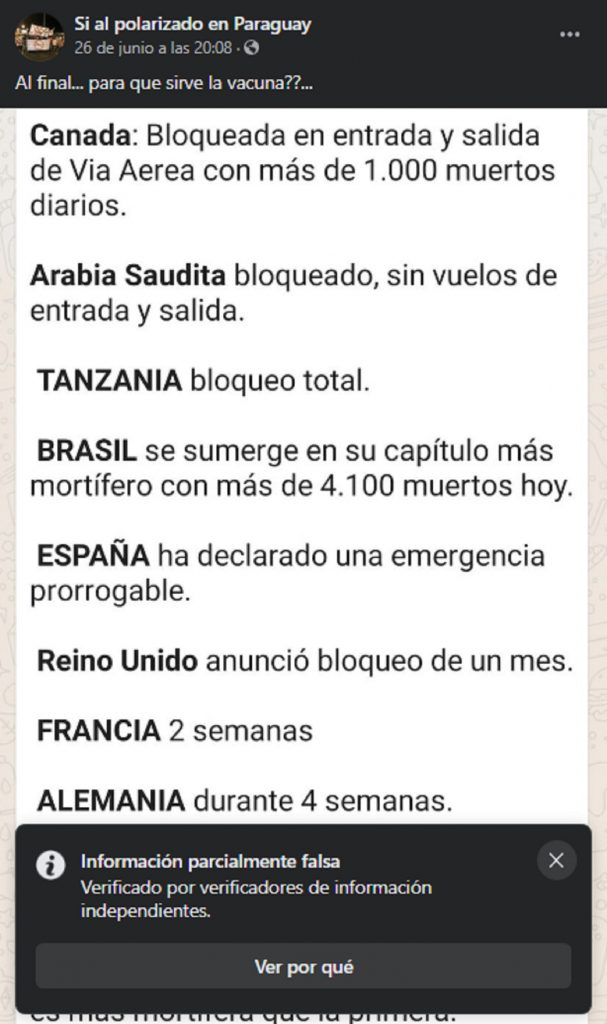 Fake News sobre países que han cerrado fronteras.